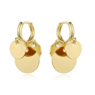 fashion simple small wafer multi-layer pendant hoop earrings Hoop geometric belt hanging small ear ring ear buckle wholesale nihaojewelry NHGO223393's discount tags