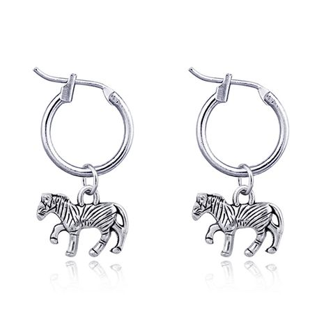 fashion animal hoop earrings retro cute pony pendant ear ring ear buckle hot sale wholesale nihaojewelry NHGO223395's discount tags
