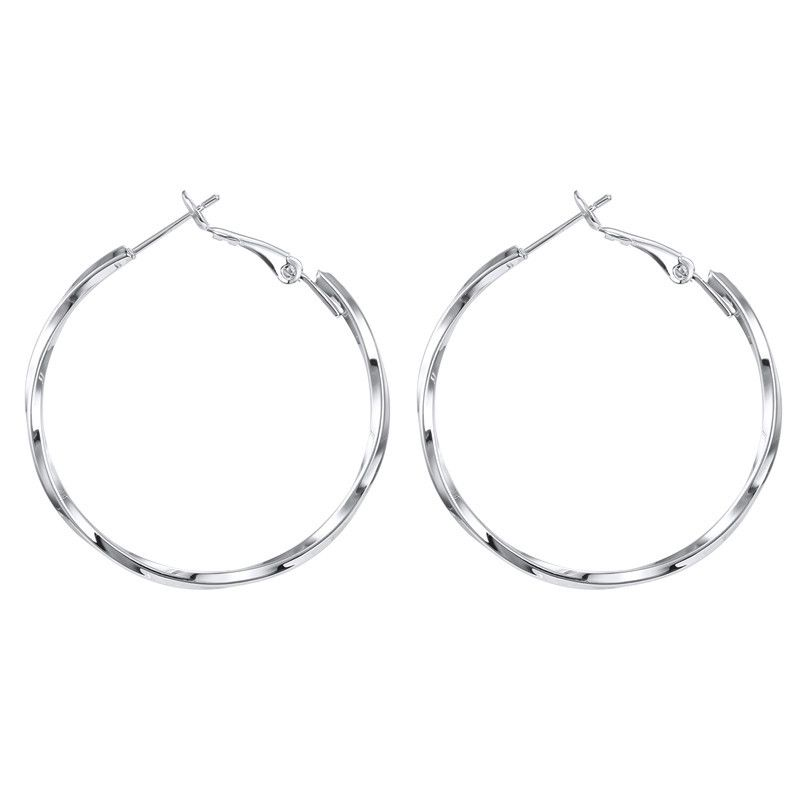 fashion exaggerated 925 silver needle large circle earrings spiral pattern round earrings wholesale nihaojewelry NHGO223398