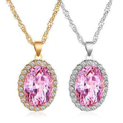 nouveau collier tempérament collier en cristal rose ovale rose collier de pierres précieuses poudre naturelle tourmaline pendentif en gros nihaojewelry NHMO223445's discount tags