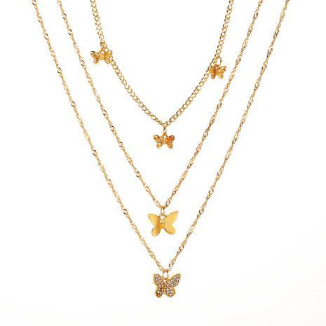 nouveau collier rétro longue multicouche diamant pendentif papillon pendentif collier à trois couches tempérament collier papillon en gros nihaojewelry NHMO223447's discount tags