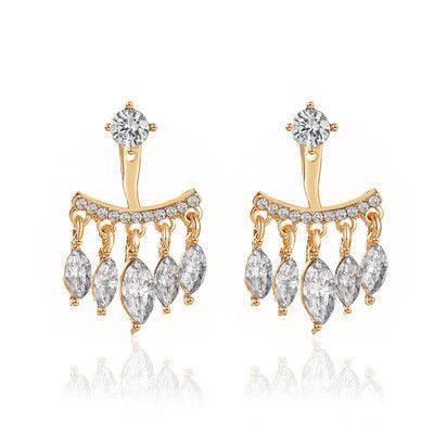 new earrings hanging earrings personality beautiful zircon tassel earrings two-wear earrings wholesale nihaojewelry NHMO223456