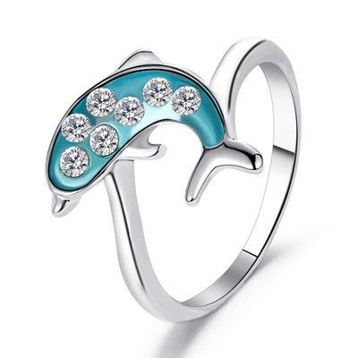 new ring blue whale ring cute dolphin ring sweet diamond ring romantic couple ring wholesale niihaojewelry NHMO223458's discount tags