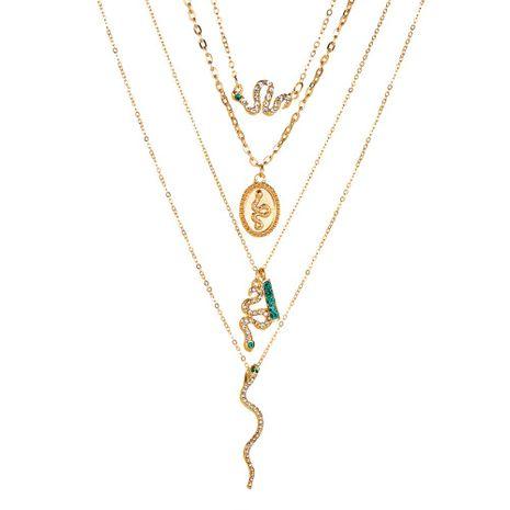 nouveau collier personnalité collier multicouche serpent serpent quatre couches ovale en forme de serpent pendentif avec diamant en forme de serpent collier en gros nihaojewelry NHMO223461's discount tags