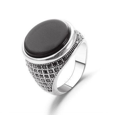 nouveau anneau rétro plein diamant noir pierre précieuse anneau exagéré pierre précieuse anneau rond index doigt anneau en gros niihaojewelry NHMO223464's discount tags