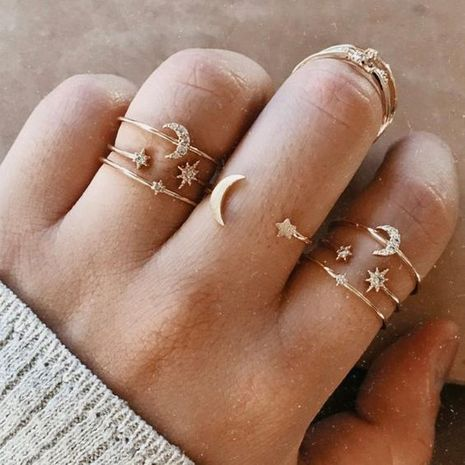 fashion new moon and star rings set 7 piece set creative retro wedding joint ring wholesale niihaojewelry NHPJ223466's discount tags