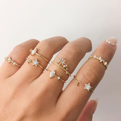star moon ring set 7 piece set creative retro simple joint ring wholesale niihaojewelry NHPJ223468's discount tags