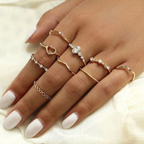 new hollow love ring creative simple joint ring set 9 piece set wholesale niihaojewelry NHPJ223469's discount tags