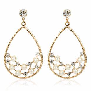personnalité créative en forme de goutte en alliage acrylique serti de diamants boucles d'oreilles perles en gros nihaojewelry NHCT223473's discount tags