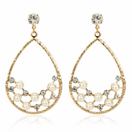 creative personality drop-shaped alloy acrylic diamond-set pearl earrings wholesale nihaojewelry NHCT223473's discount tags