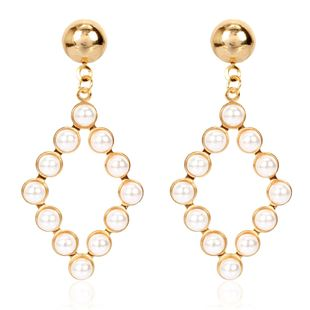 personality simple geometric pearl earrings temperament wild hollow earrings wholesale nihaojewelry NHCT223475's discount tags