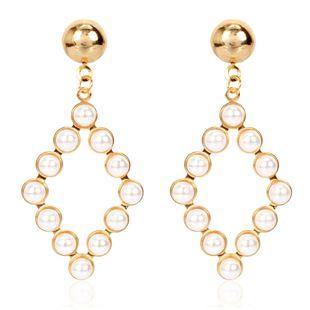 personnalité simple géométrique boucles d'oreilles perle tempérament sauvage boucles d'oreilles creuses en gros nihaojewelry NHCT223475's discount tags