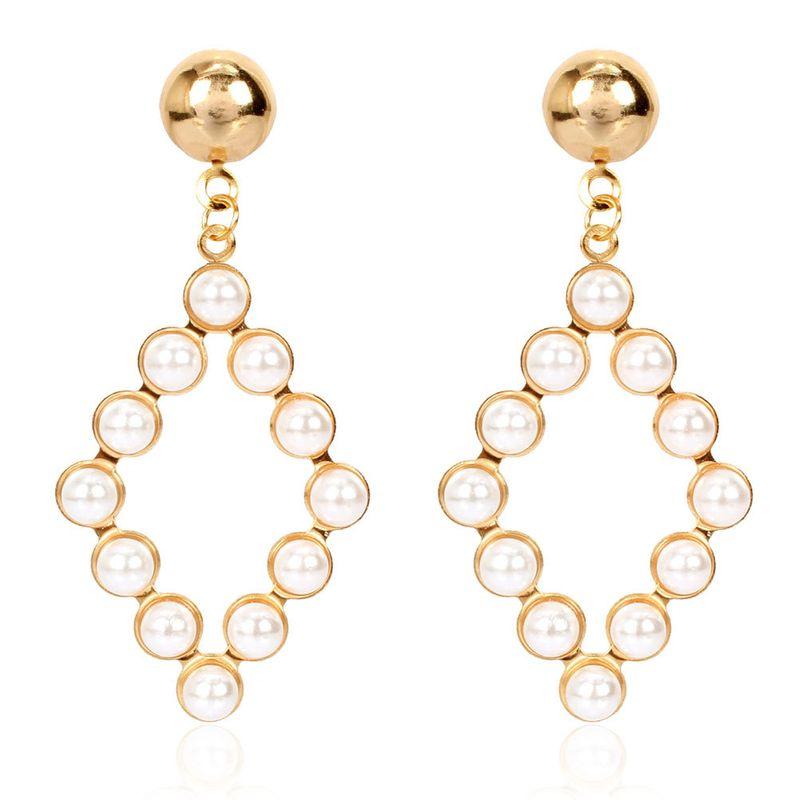 personality simple geometric pearl earrings temperament wild hollow earrings wholesale nihaojewelry NHCT223475