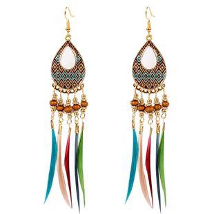 creative feather earrings bohemian rice beads earrings long section water drop tassel ear jewelry wholesale nihaojewelry NHCT223478's discount tags