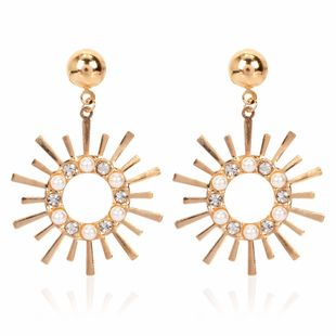fashion personality alloy sun flower explosion earrings style diamond inlaid pearl earrings wholesale nihaojewelry NHCT223482's discount tags