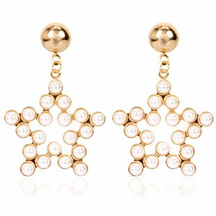 fashion minimalist style alloy inlaid pearl pentagram earrings temperament earrings wholesale nihaojewelry NHCT223483's discount tags