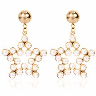 mode style minimaliste alliage incrusté de perles pentagramme boucles d'oreilles tempérament boucles d'oreilles en gros nihaojewelry NHCT223483's discount tags
