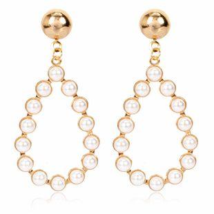 Créatif personnalité minimaliste géométrique ovale alliage incrusté de perles boucles d'oreilles rétro boucles d'oreilles en gros nihaojewelry NHCT223484's discount tags