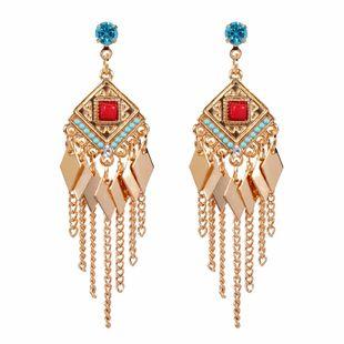 mode tempérament géométrique losange bohème gland boucles d'oreilles bijoux en gros nihaojewelry NHCT223489's discount tags