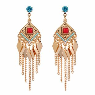 fashion temperament geometric rhombus bohemian tassel earrings jewelry wholesale nihaojewelry NHCT223489's discount tags