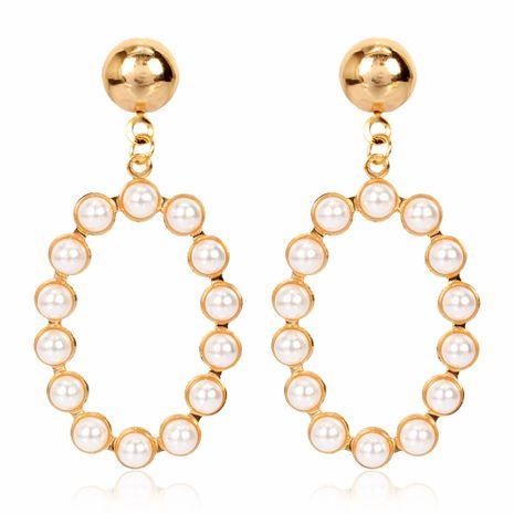 mode rétro boucles d'oreilles personnalité créative géométrique alliage ovale incrusté de boucles d'oreilles perle en gros nihaojewelry NHCT223498's discount tags