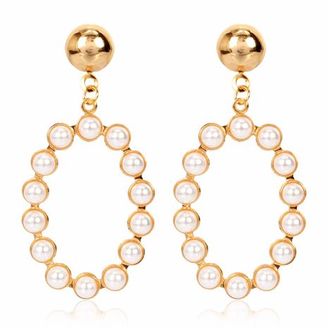 fashion retro earrings creative personality geometric oval alloy inlaid pearl earrings wholesale nihaojewelry NHCT223498's discount tags