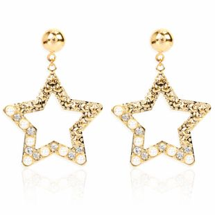 personality simple hollow star diamond earrings fashion temperament wild earrings wholesale nihaojewelry NHCT223499's discount tags