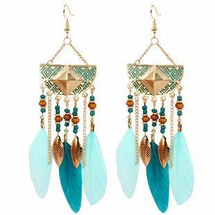 Boucles d'oreilles bohèmes rétro longues boucles d'oreilles en plumes de gland exagérées boucles d'oreilles géométriques semi-circulaires en gros nihaojewelry NHCT223500's discount tags