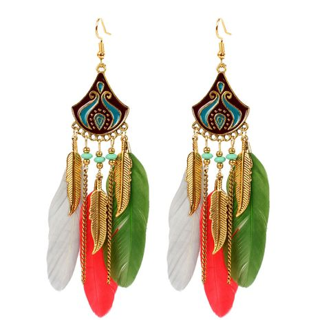 Bohemian creative feather earrings rice bead earrings water drop tassel ear jewelry wholesale nihaojewelry NHCT223501's discount tags