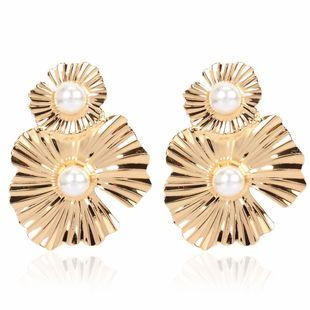 fashion metal flower earrings simple retro irregular flower earrings wholesale nihaojewelry NHCT223508's discount tags