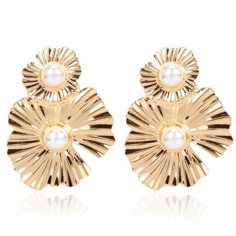 boucles d'oreilles fleur en métal de mode simple rétro boucles d'oreilles fleur irrégulière en gros nihaojewelry NHCT223508's discount tags
