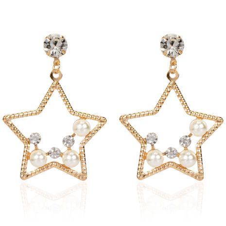 fashion temperament imitation pearl alloy star wild earrings personality exaggerated earrings wholesale nihaojewelry NHCT223510's discount tags