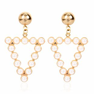 Simple personality geometric alloy diamond inlaid pearl earrings fashion earrings wholesale nihaojewelry NHCT223512's discount tags