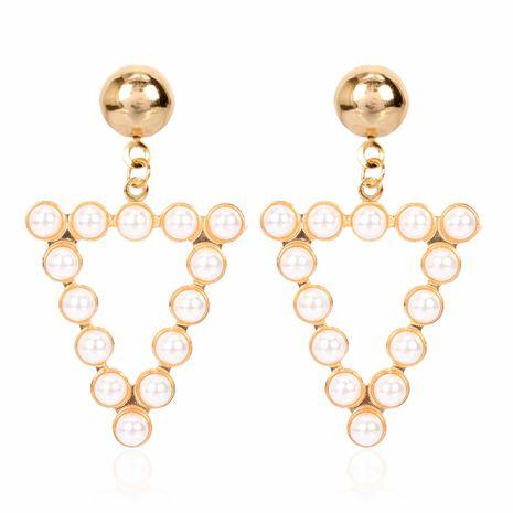 Simple personnalité géométrique alliage diamant incrusté de perles boucles d'oreilles mode boucles d'oreilles en gros nihaojewelry NHCT223512's discount tags