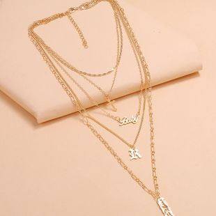 cool multi-layer niche design necklace fashion personality tide cross letter geometric hollow necklace wholesale nihaojewelry NHKQ223521's discount tags