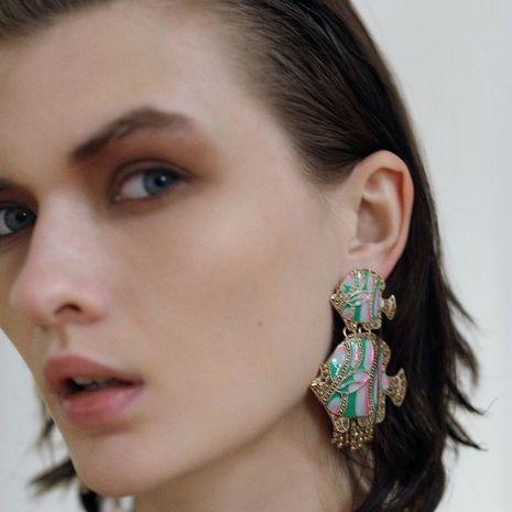 tendance de la personnalité exagérée huile goutte de poisson boucles d'oreilles exagéré animal couleur boucles d'oreilles bijoux en gros nihaojewelry NHLA223531's discount tags