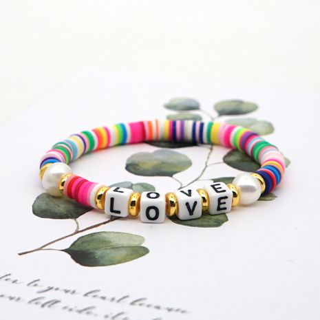 original simple Pearls natural pearl hand-woven love LOVE colorful soft clay clay bracelet wholesale nihaojewelry NHGW223535's discount tags