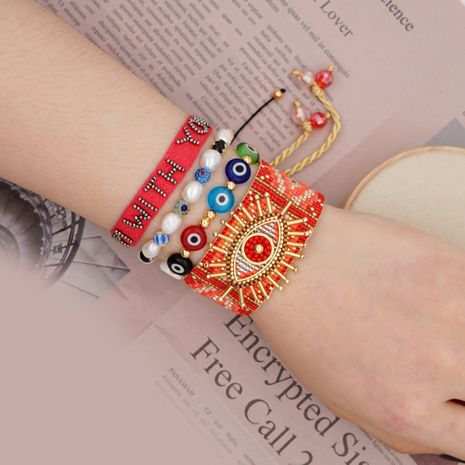 Simple natural freshwater pearl bracelet Miyuki rice beads woven lucky eye ethnic style handmade jewelry wholesale nihaojewelry NHGW223536's discount tags