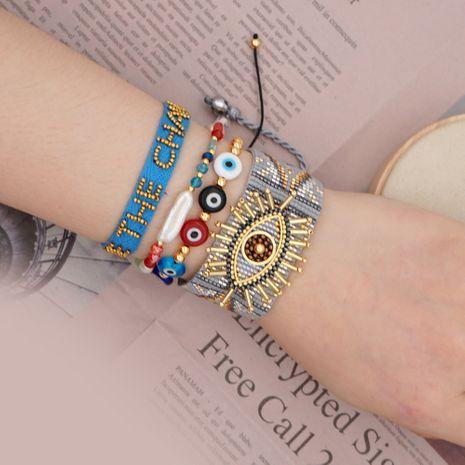 simple bracelet Miyuki rice beads woven lucky eye ethnic style ribbon handmade jewelry wholesale nihaojewelry NHGW223539's discount tags
