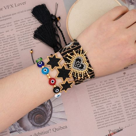 national style wide bracelet simple eyes Miyuki rice beads woven love six-pointed star handmade jewelry wholesale nihaojewelry NHGW223541's discount tags