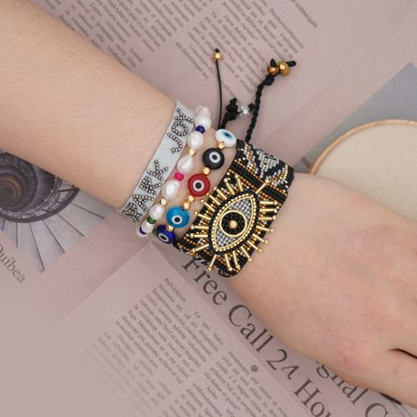 Simple ethnic style bracelet natural freshwater pearl Miyuki rice beads woven lucky eye handmade jewelry wholesale nihaojewelry NHGW223542's discount tags