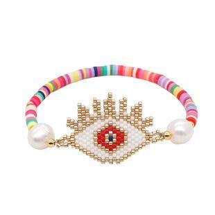 Pulsera simple Miyuki cuentas de arroz joyería hecha a mano tejida Mal de ojo ojo de la suerte estilo étnico pieza de arcilla al por mayor nihaojewelry NHGW223543's discount tags