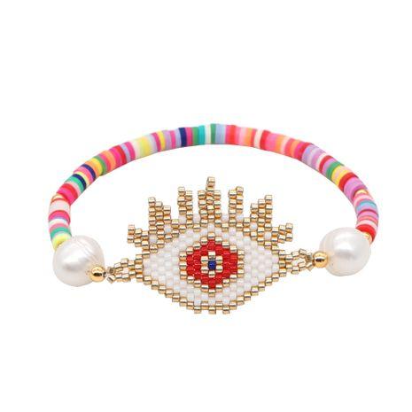 Simple bracelet Miyuki rice beads handmade jewelry woven Evil Eye lucky eye ethnic style clay piece wholesale nihaojewelry NHGW223543's discount tags