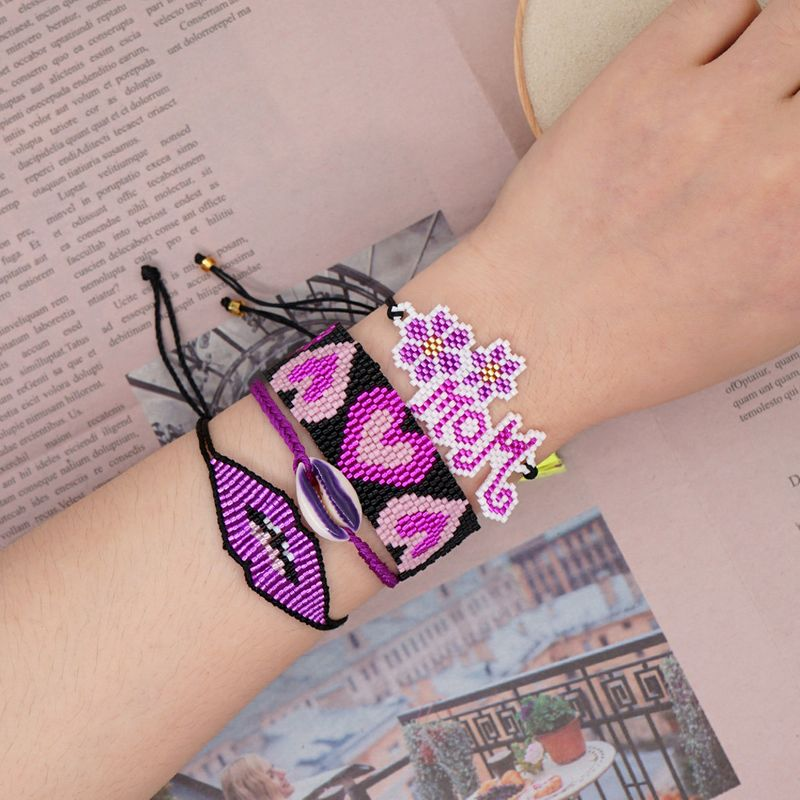simple bracelet Miyuki rice beads woven MOM ethnic wind ribbon shell set  jewelry wholesale nihaojewelry NHGW223544