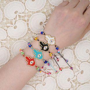 pulsera estilo étnico Miyuki cuentas de arroz tejidas Fátima ojos de palma joyería religiosa tótem al por mayor nihaojewelry NHGW223549's discount tags