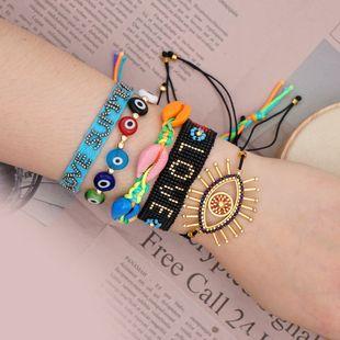 Miyuki cuentas de arroz pulsera de ojo de la suerte estilo étnico arcoíris natural concha joyería hecha a mano al por mayor nihaojewelry NHGW223567's discount tags