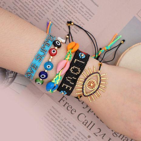 Miyuki rice beads woven lucky eye bracelet ethnic style rainbow natural shell handmade jewelry wholesale nihaojewelry NHGW223567's discount tags