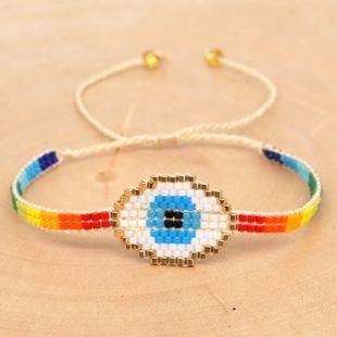 Pulsera simple Miyuki tejida a mano Evil Eye lucky eye modelos del arco iris joyería de estilo étnico al por mayor nihaojewelry NHGW223566's discount tags