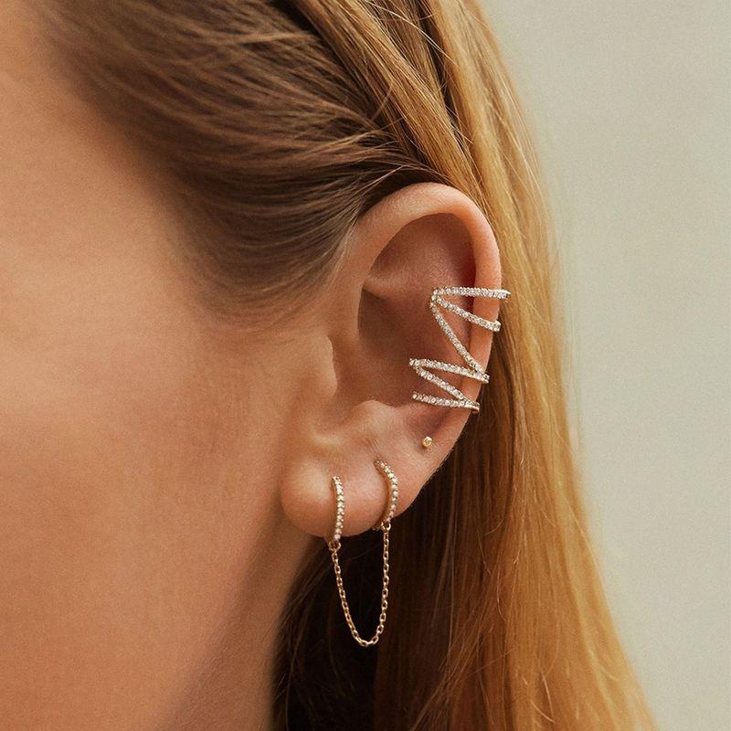 copper earrings multicolor rhinestone chain suit unisex earrings wholesale nihaojewelry NHLL223577