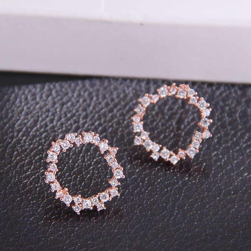 Korean fashion micro-set zircon simple circle personality temperament earrings wholesale nihaojewelry NHSC224472